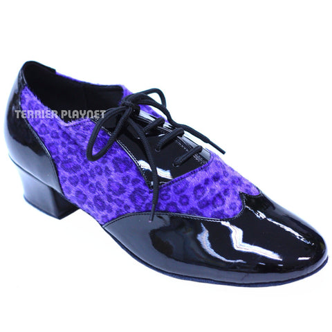 Black & Leopard Women Dance Shoes D826 UK6.5/US9/EU40 2 Inches/5cm Heel