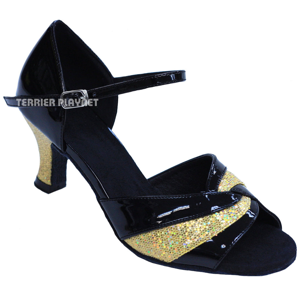 Black & Gold Women Dance Shoes D840 - Terrier Playnet Shop