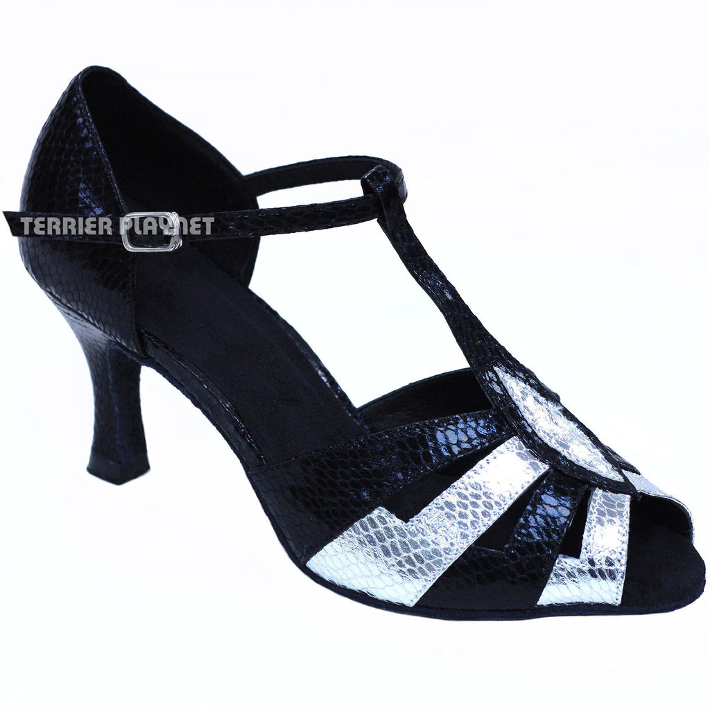 Black & Silver Women Dance Shoes D846 - Terrier Playnet Shop