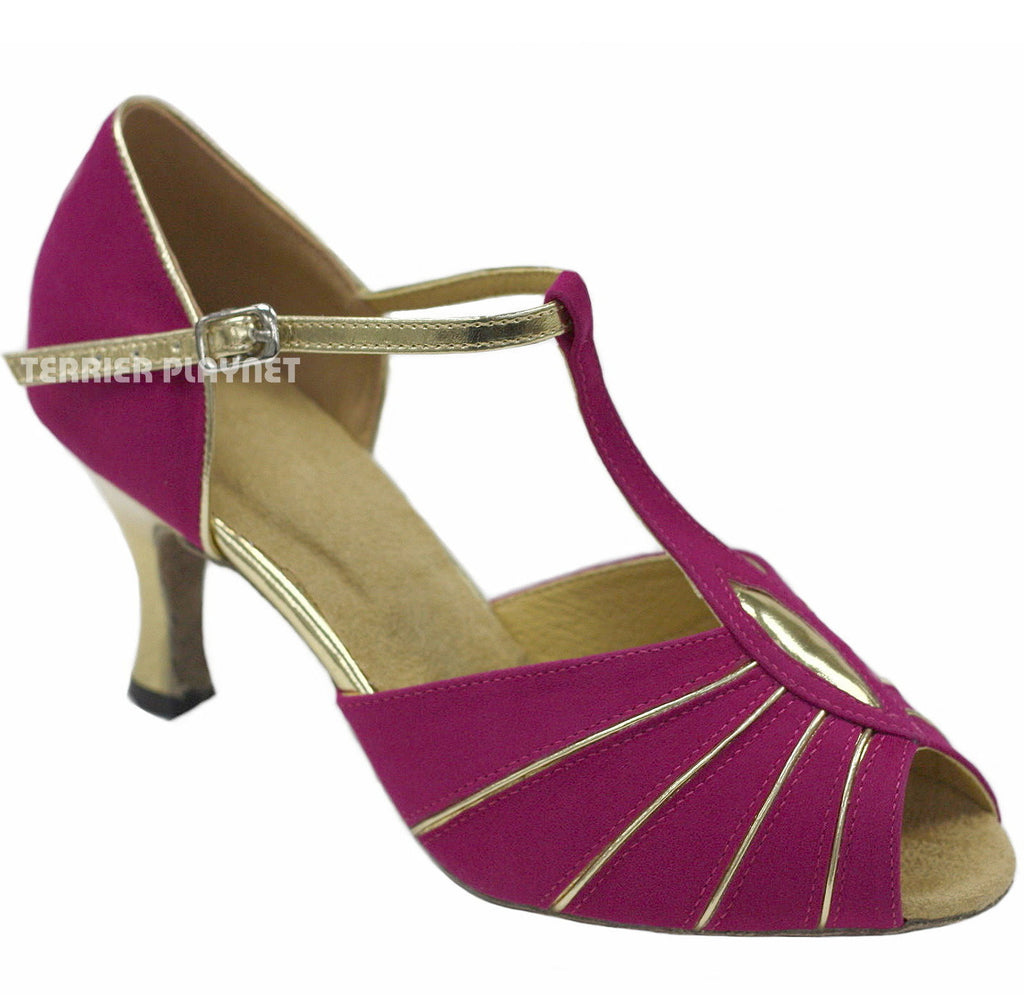 Hot Pink & Gold Women Dance Shoes D847