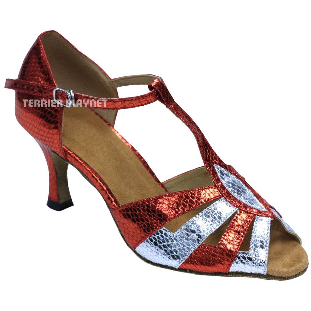 Red & Silver Women Dance Shoes D849