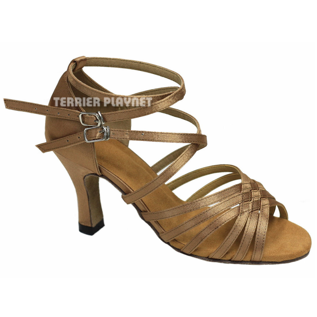 Tan Women Dance Shoes D856 - Terrier Playnet Shop