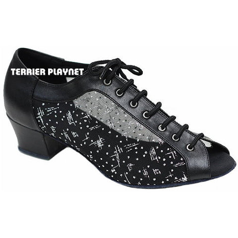 Black & Silver Women Dance Shoes D858