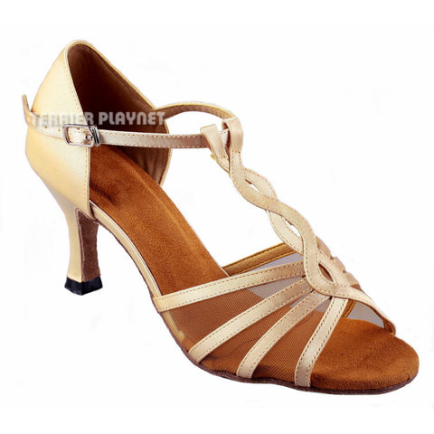 Cream Women Dance Shoes D859 UK2/US4.5/EU37.5 2.5 Inches/6.25cm Heel