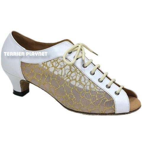 White & Gold Women Dance Shoes D862