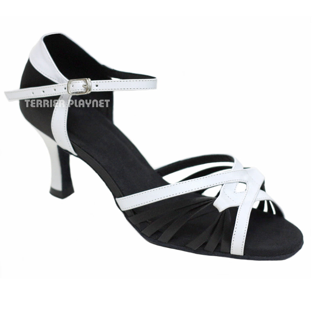 White & Black Women Dance Shoes D870 - Terrier Playnet Shop