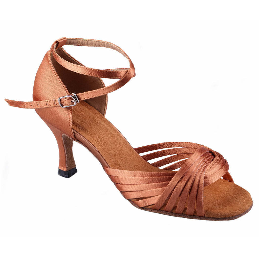Tan Women Dance Shoes D871 - Terrier Playnet Shop
