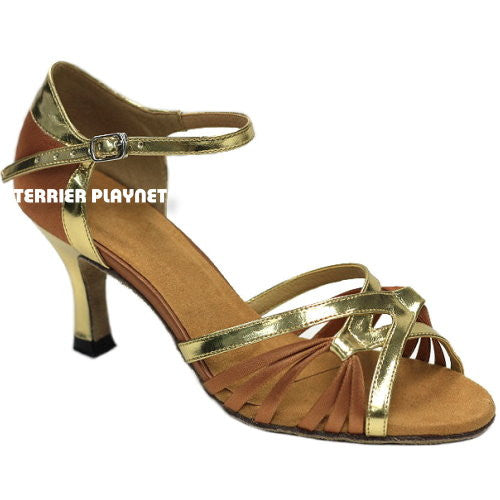 Gold & Tan Women Dance Shoes D872 - Terrier Playnet Shop