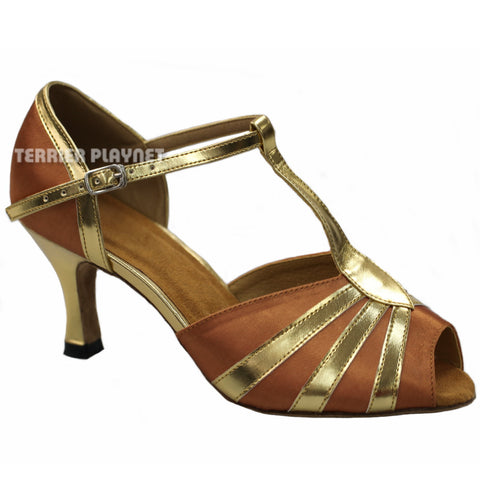 Tan & Gold Women Dance Shoes D886