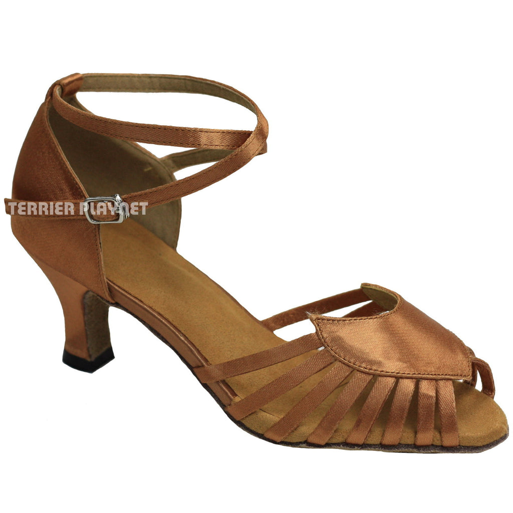 Tan Women Dance Shoes D889 - Terrier Playnet Shop
