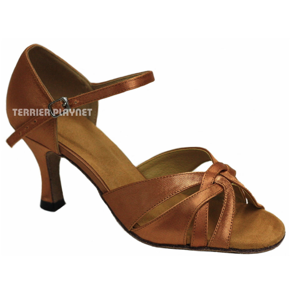 Tan Women Dance Shoes D891 - Terrier Playnet Shop
