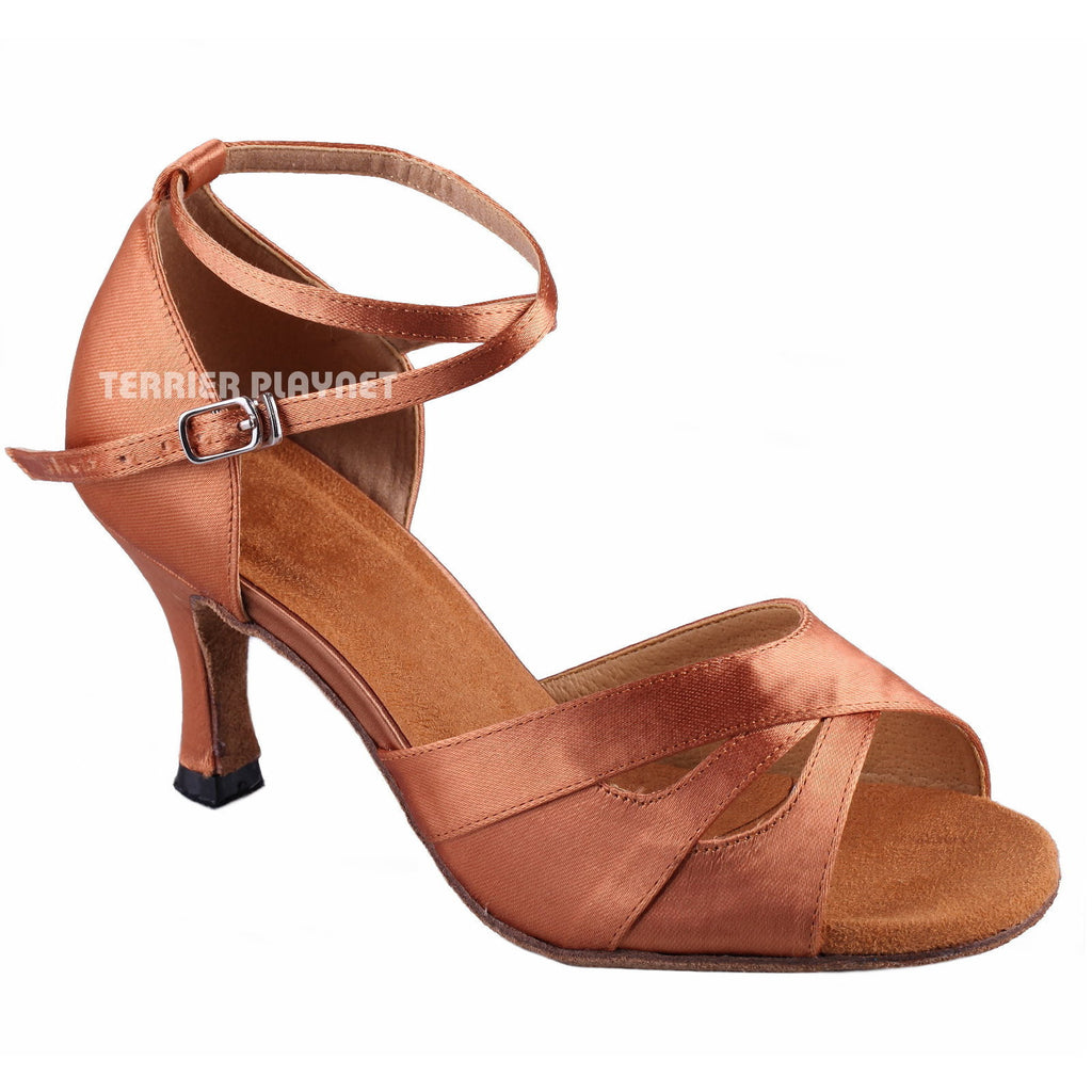 Tan Women Dance Shoes D895 - Terrier Playnet Shop