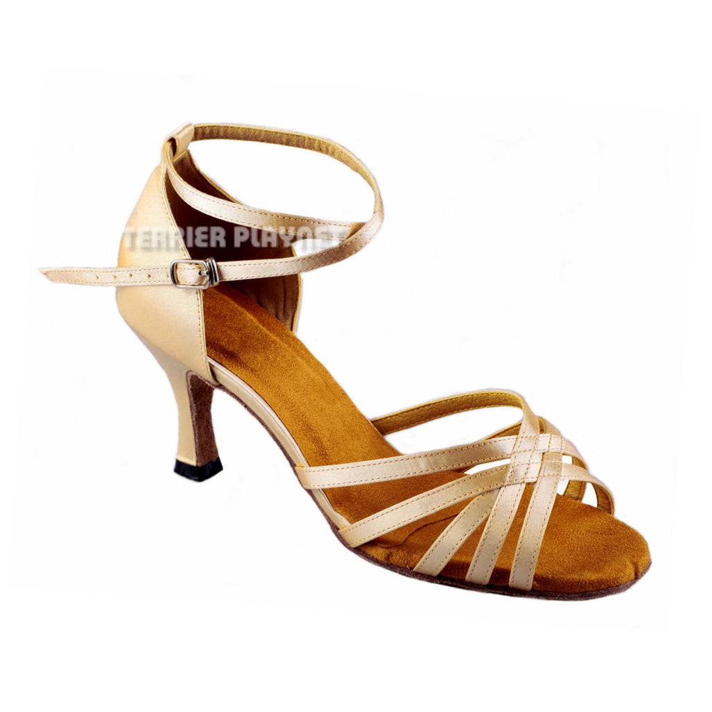 Cream Women Dance Shoes D898 - Terrier Playnet Shop