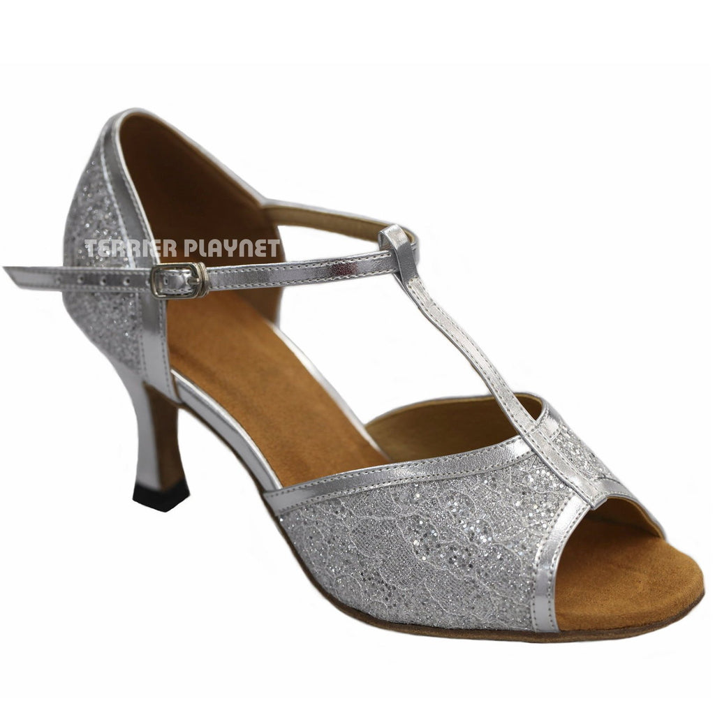 Silver Women Dance Shoes D901 UK4.5/US7/EU37.5 3 Inches / 7.5cm Heel