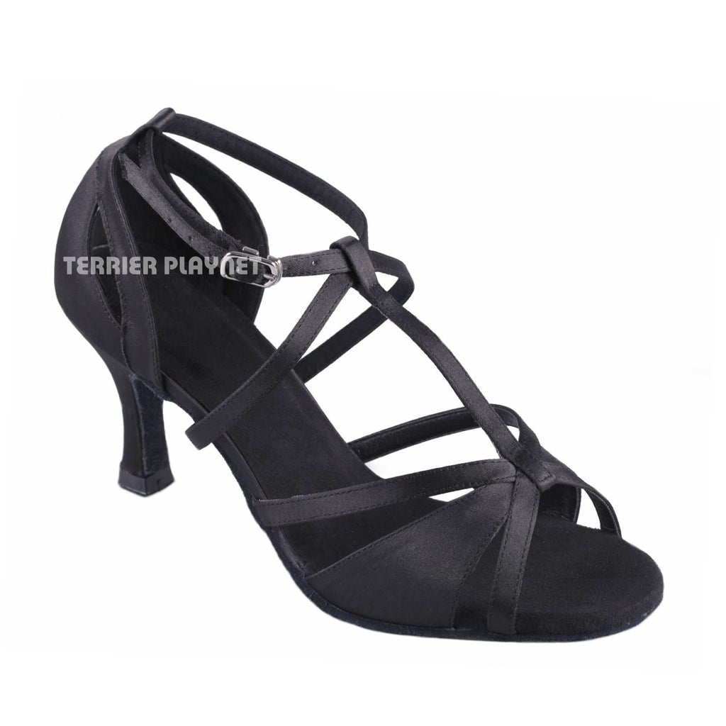 Black Women Dance Shoes D906 UK5/US7.5/EU38 3.25 Inches/8.25cm Heel - Terrier Playnet Shop