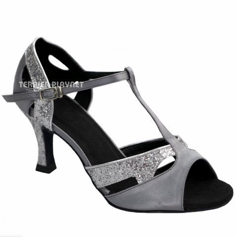 Silver Gray & Silver Women Dance Shoes D908