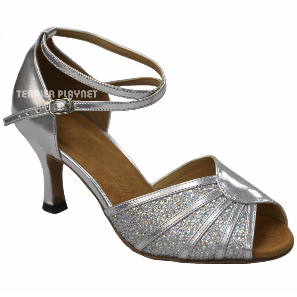 Silver Women Dance Shoes D917 - Terrier Playnet Shop
