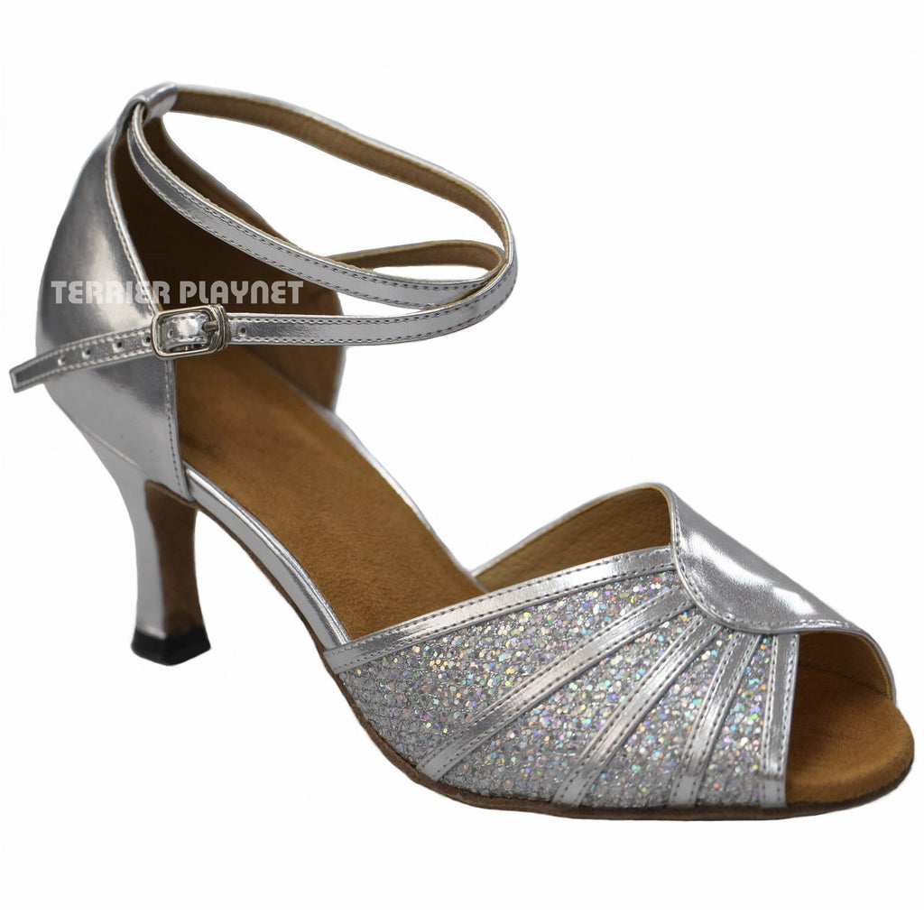Silver Women Dance Shoes D917 UK4.5/US7/EU37.5 3.75 Inches / 9.5cm Heel - Terrier Playnet Shop