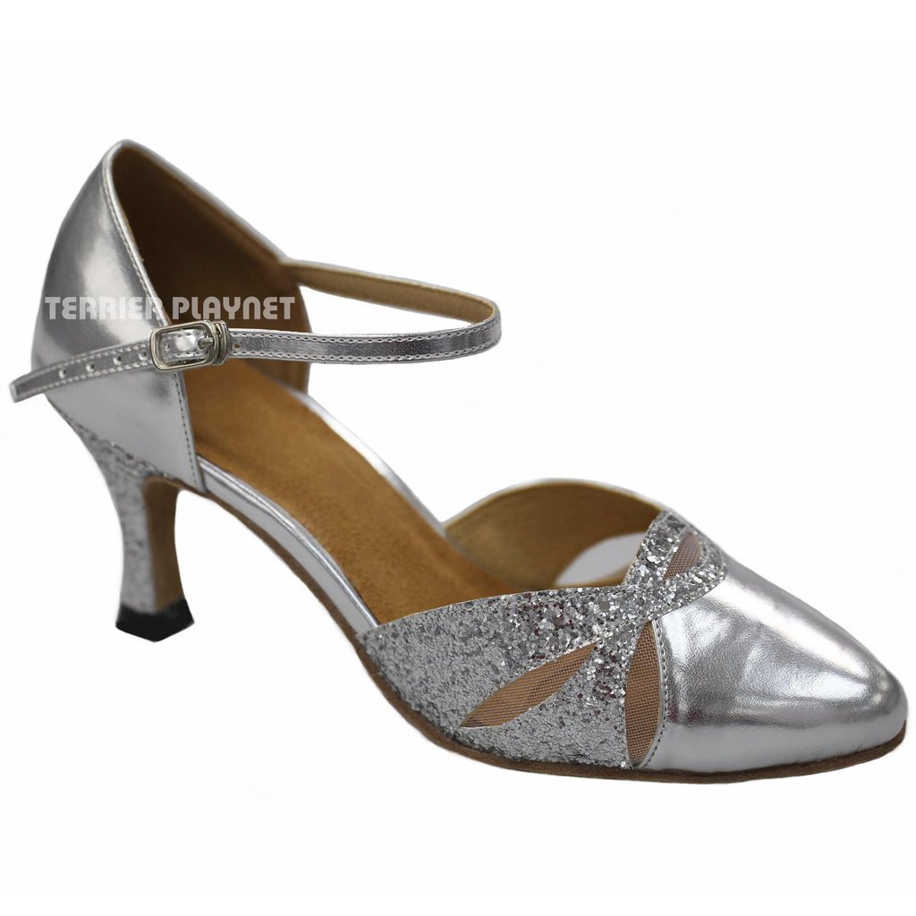 Silver & Glitter Women Dance Shoes D918 - Terrier Playnet Shop