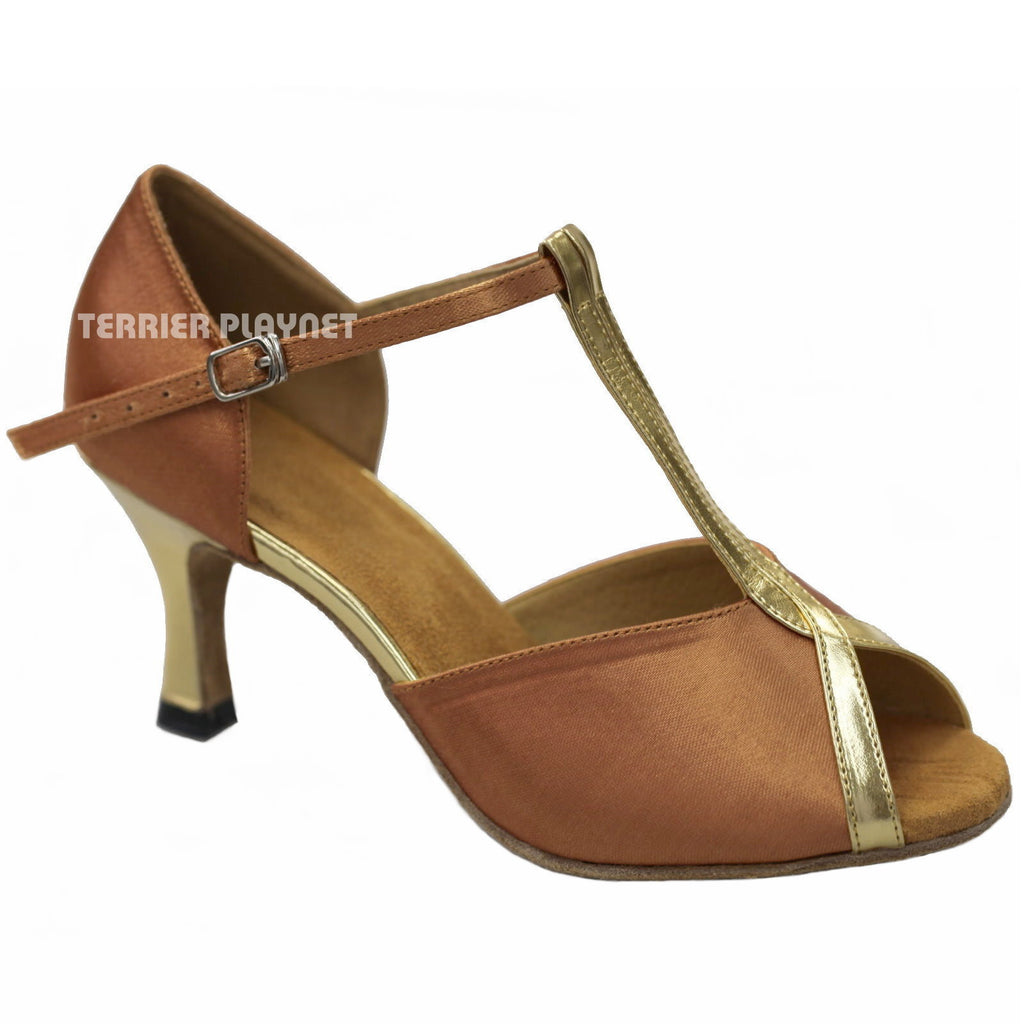 Tan & Gold Women Dance Shoes D922 - Terrier Playnet Shop