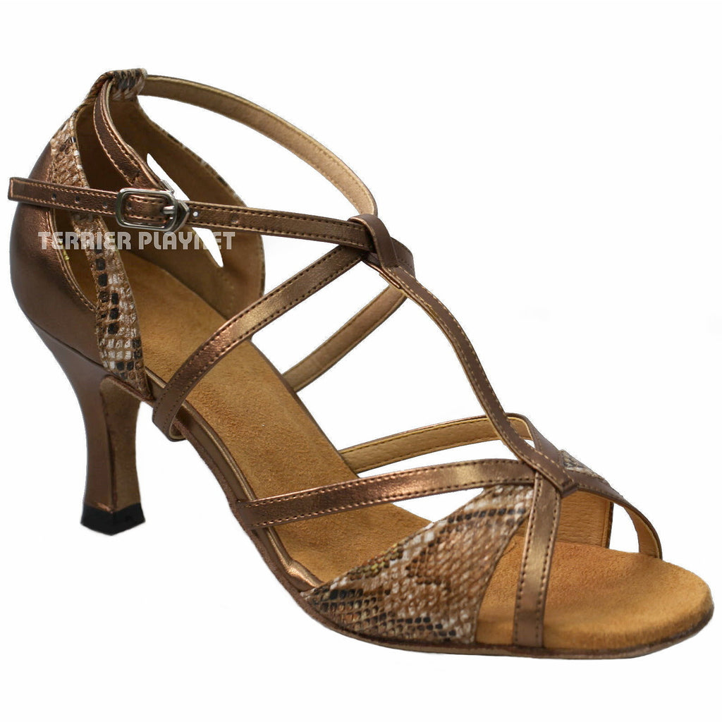 Bronze & Snake Skin Pattern Women Dance Shoes D927 - Terrier Playnet Shop