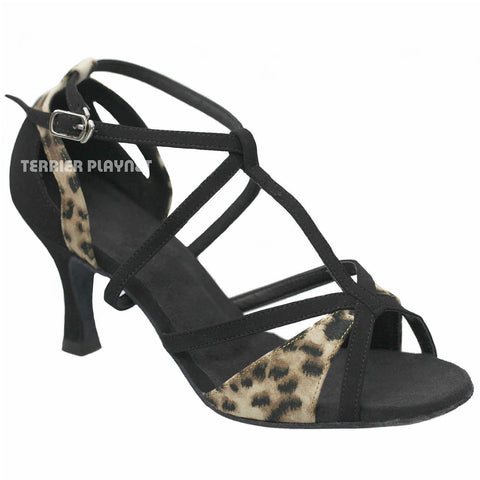 Black & Leopard Pattern Women Dance Shoes D928
