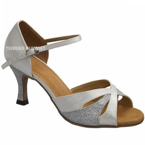 White & Silver Women Dance Shoes D932