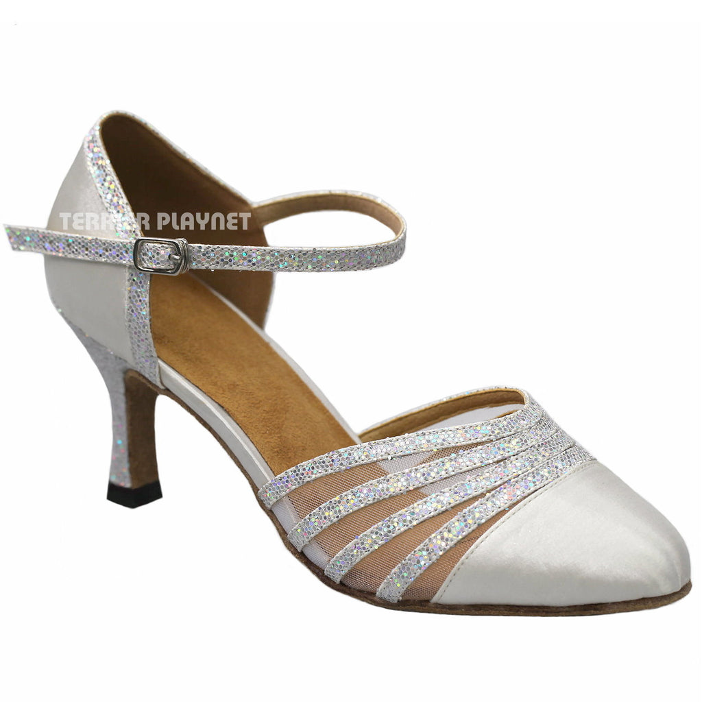 White & Silver Women Dance Shoes D933 UK6/US8.5/EU39.5 3 Inches/7.5cm Heel - Terrier Playnet Shop