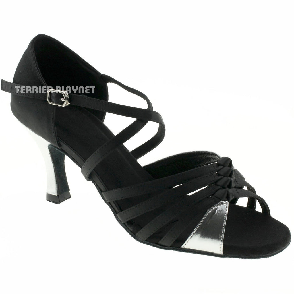 Black & Silver Women Dance Shoes D948 UK2/US4.5/EU34 2.5 Inches/6.25cm Heel - Terrier Playnet Shop