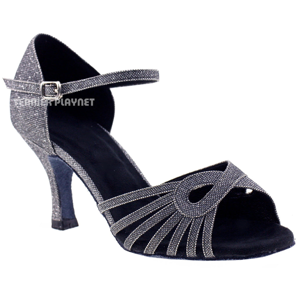 Silver Black Women Dance Shoes D954 - Terrier Playnet Shop