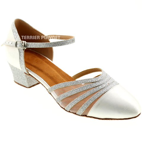 White & Silver Women Dance Shoes D95