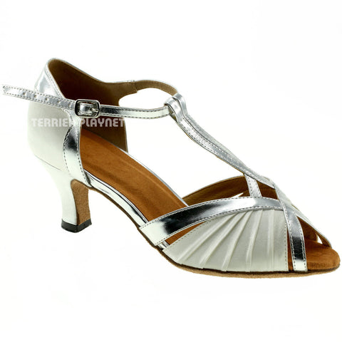 White & Silver Women Dance Shoes D966 UK2.5/US5/EU35 3.25 Inches/8.25cm Heel