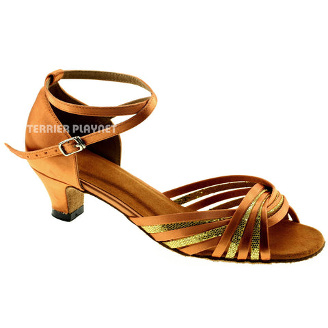 Tan & Gold Women Dance Shoes D968