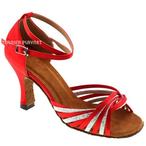 Red & Silver Women Dance Shoes D974