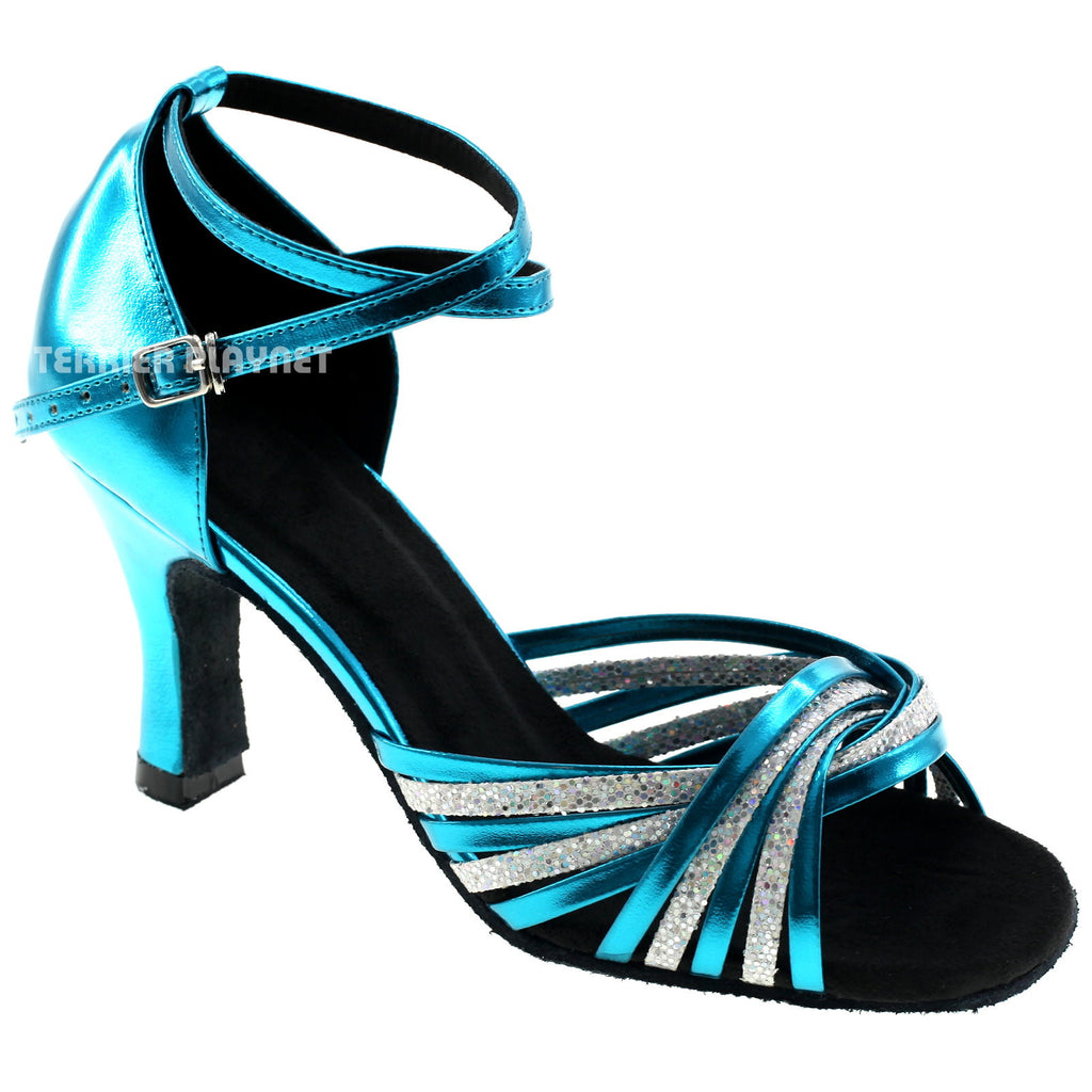 Light Blue & Silver Women Dance Shoes D975