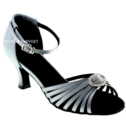 Silver Gray Women Dance Shoes D977
