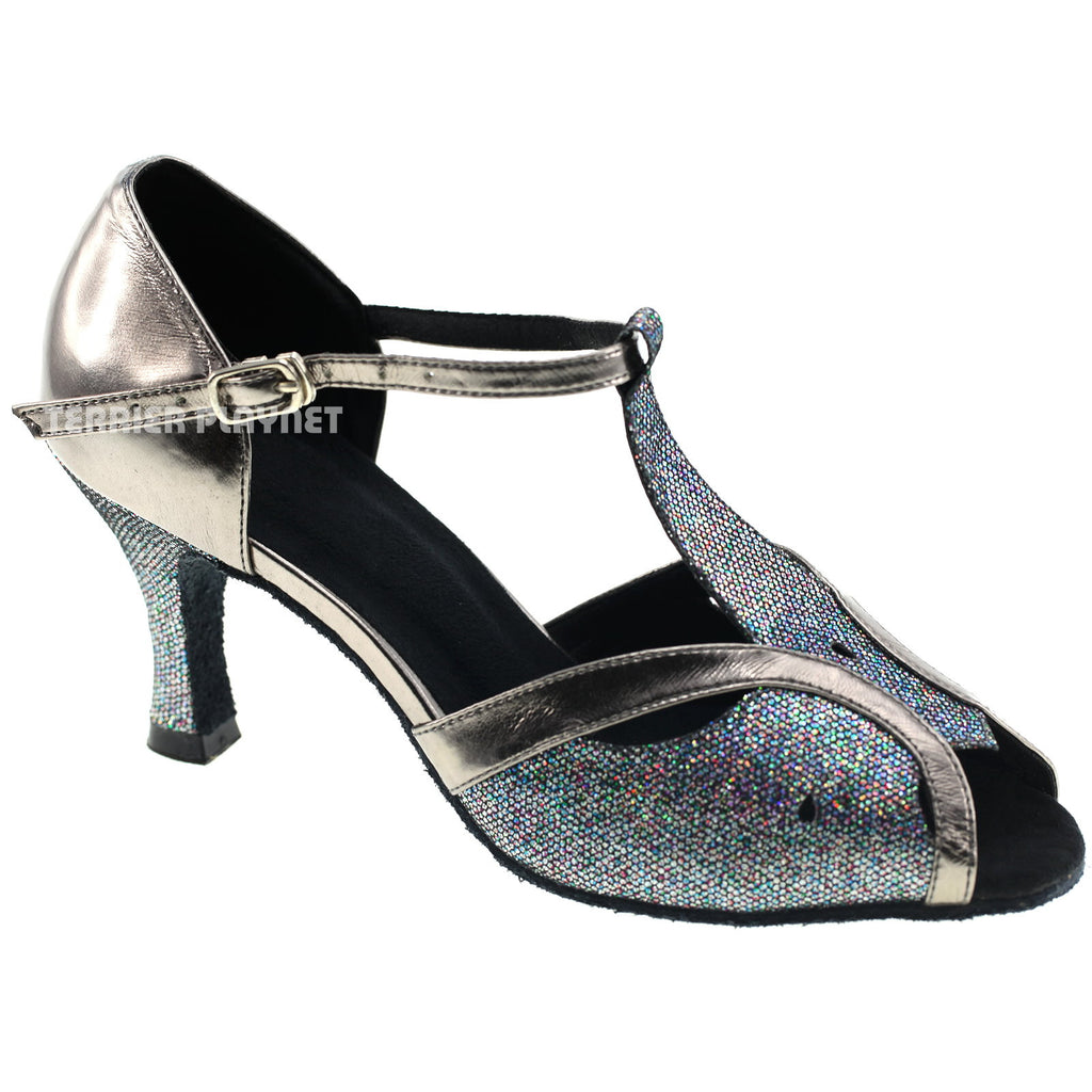 Gray & Black Multi-Color Glitter Women Dance Shoes D991