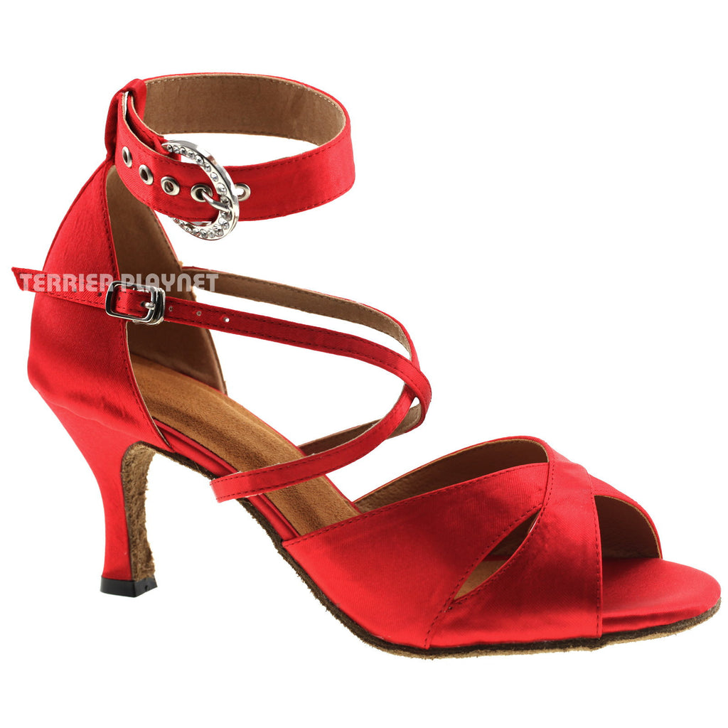 Red Women Dance Shoes D996 UK2.5/US5/EU35 3.75 Inches/9.5cm Heel - Terrier Playnet Shop