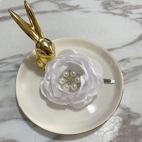 White Satin Flower Hair Clip Brooch Lapel Pin For Selection HR1