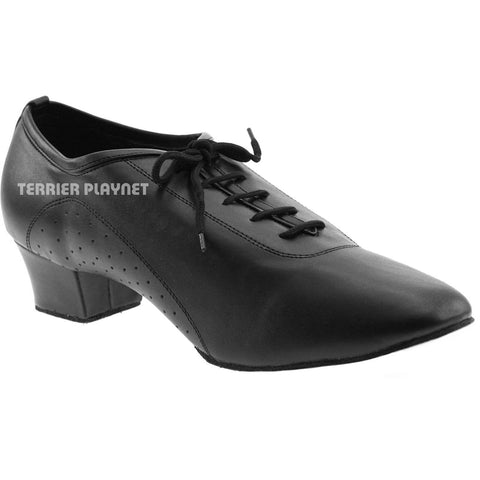 Black Men Dance Shoes M18 UK9.5/US10/EU44 1.5 Inches/3.75cm Heel