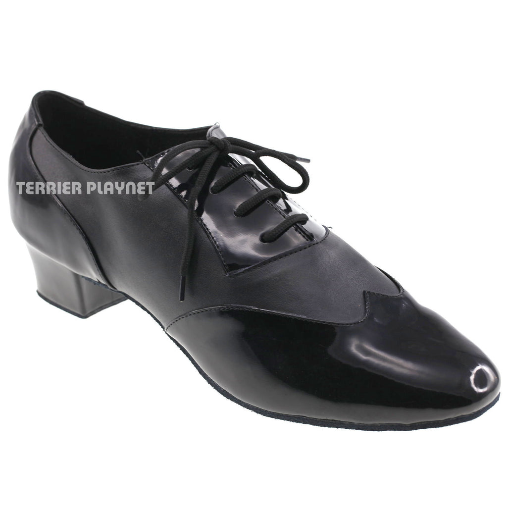 Black Men Dance Shoes M1 UK9.5/US10/EU44 1.5 Inches/3.75cm Heel - Terrier Playnet Shop