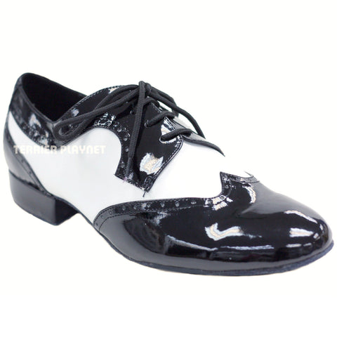 Black & White Men Dance Shoes M41 UK8.5/US9/EU42.5 1 Inches/2.5cm Heel