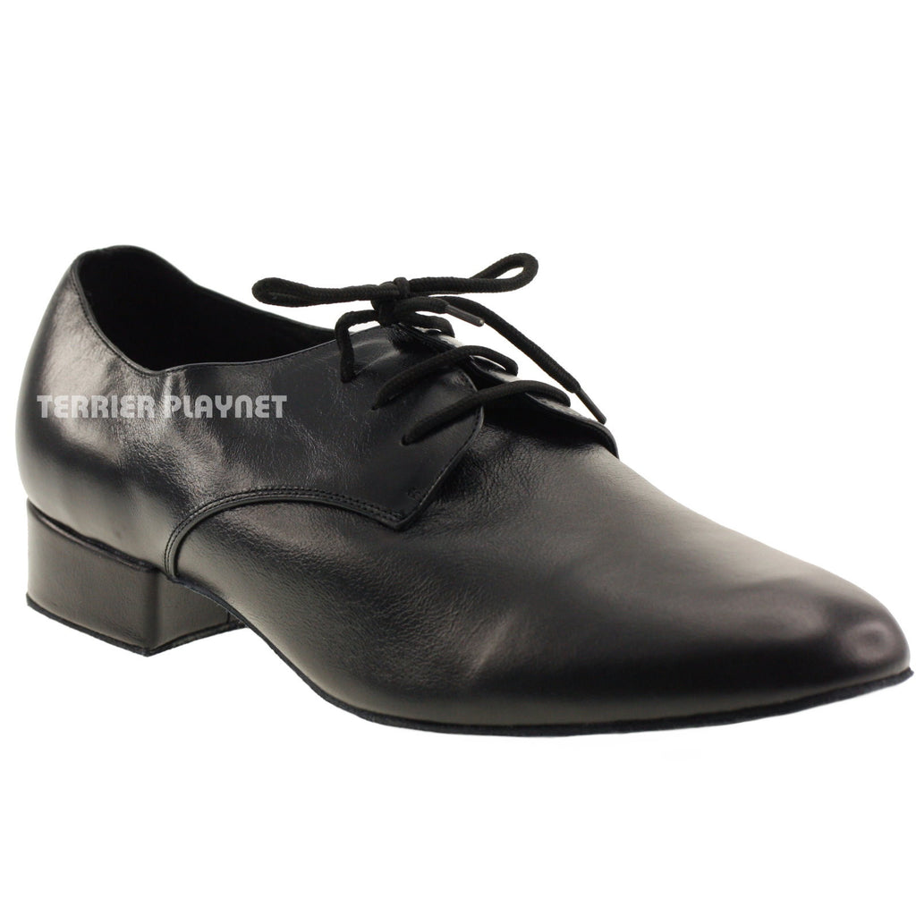High Quality Black Leather Men Dance Shoes M42 UK10/US10.5/EU44.5 1 Inches/2.5cm Heel