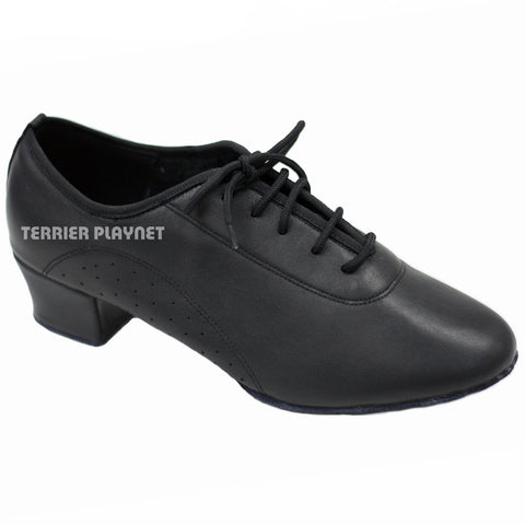 High Quality Black Leather Men Dance Shoes M44 UK10.5/US11/EU45 1.5 Inches/3.75cm Heel