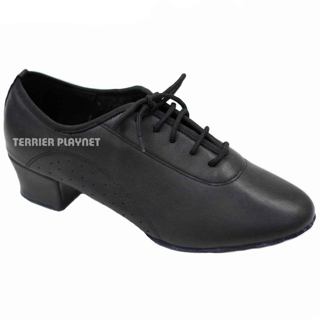 High Quality Black Leather Men Dance Shoes M44 UK11.5/US12/EU46.5 1.5 Inches/3.75cm Heel