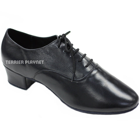 High Quality Black Leather Men Dance Shoes M45 UK9/US9.5/EU43 1.5 Inches/3.75cm Heel