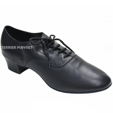 High Quality Black Leather Men Dance Shoes M56 UK7.5/US8/EU41 1.5 Inches/3.75cm Heel