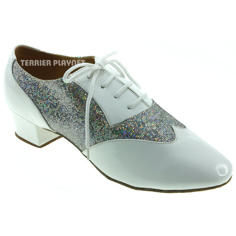 White & Silver Men Dance Shoes M62