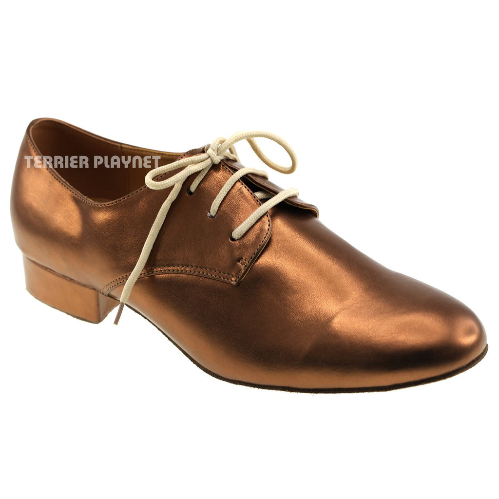 Bronze Men Dance Shoes M2 UK8.5/US9/EU42.5 1 Inches/2.5cm Heel - Terrier Playnet Shop