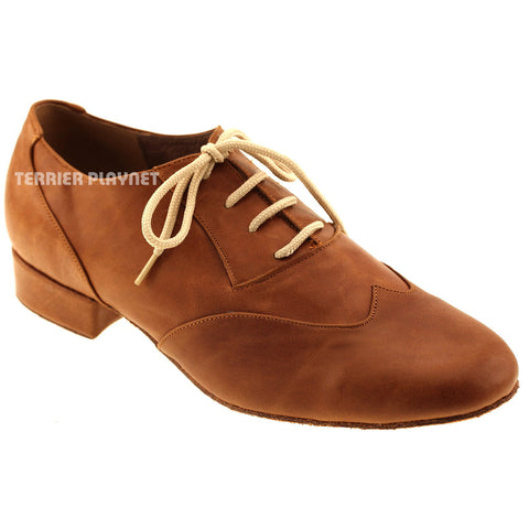 High Quality Brown Leather Men Dance Shoes M67 UK8.5/US9/EU42.5 1 Inches/2.5cm Heel